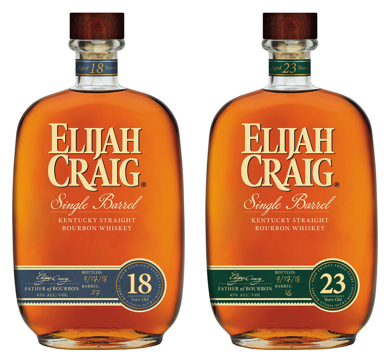 Elijah Craig 18-Year-Old and 23-Year-Old, bottles on white