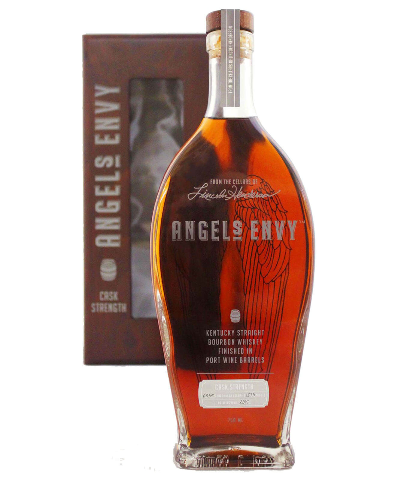 Angel's Envy Cask Strength, bottle and package on white