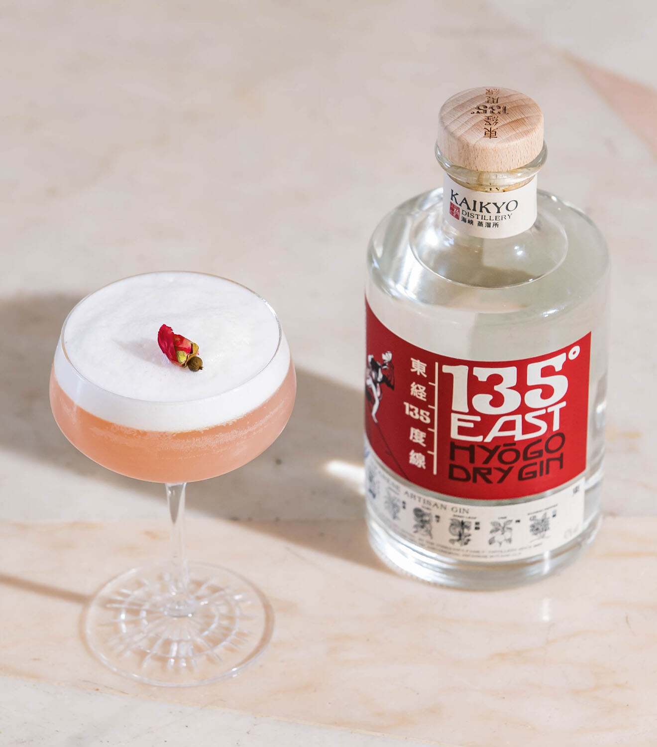 Longitude Line, cocktail and bottle, 135 east gin