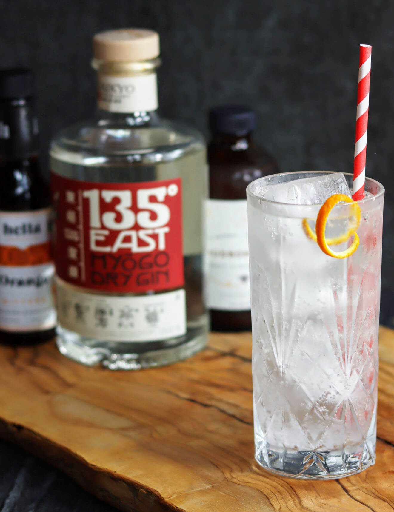 135 East Gin & Tonic, bottle and cocktail
