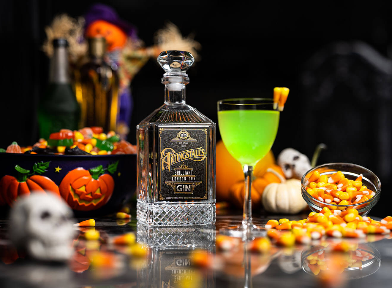 Ectoplasm Grimlet, cocktail, bottle and Halloween decor