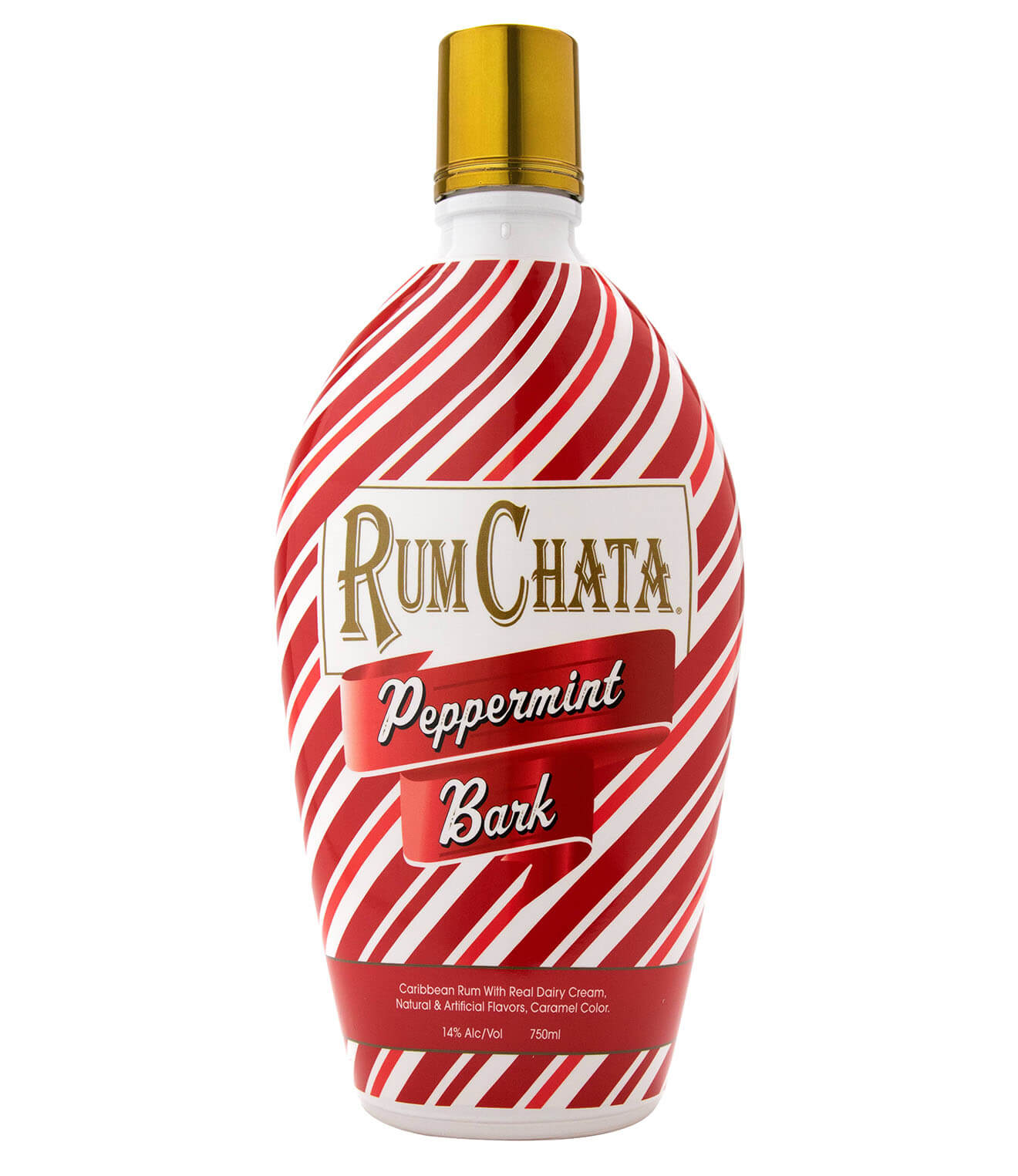 RumChata Peppermint Bark, bottle on white