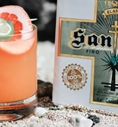Santo Bloody Orange Margarita, bottle and cocktail, featured image