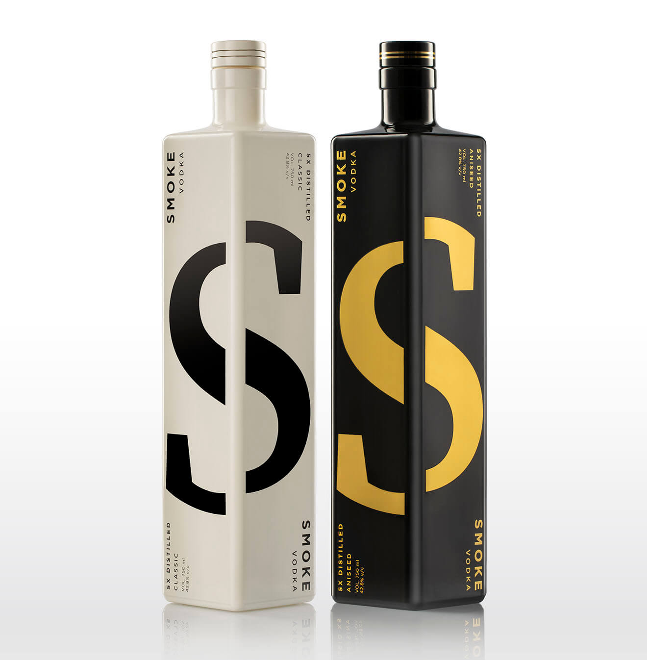 Smoke Lab Vodka Classic and Aniseed, bottles on white