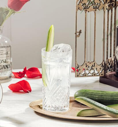 Hendrick's Rickey, cocktail, bottle, garnishes, bird cage, featured image