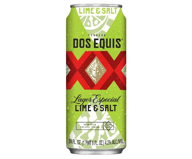 Dos Equis Lime & Salt Beer, can on white