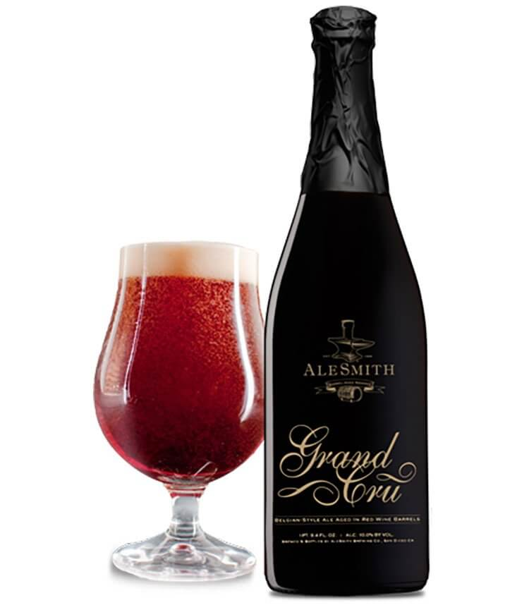 Alesmith Barrel-Aged Grand Cru Belgian Style Ale, glass and bottle, white background