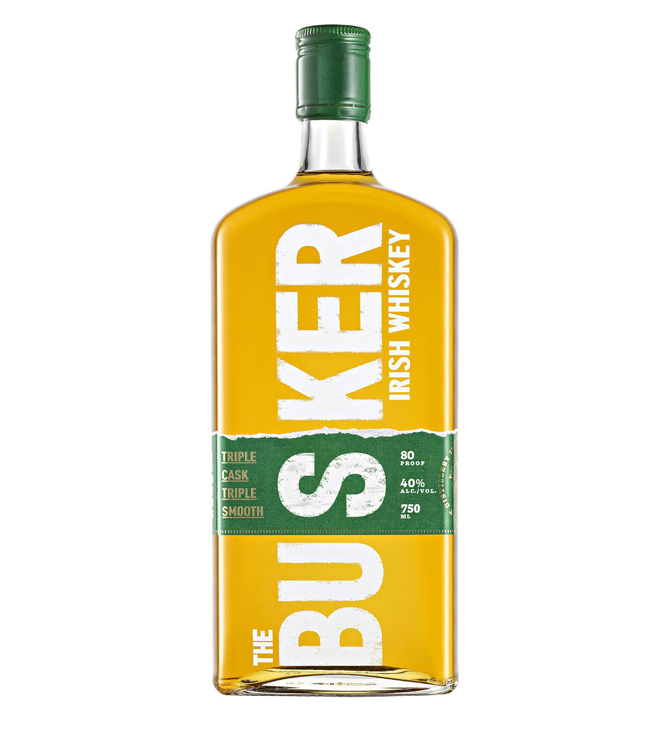 The Busker Irish Whiskey Triple Cask Triple Smooth, bottle on white