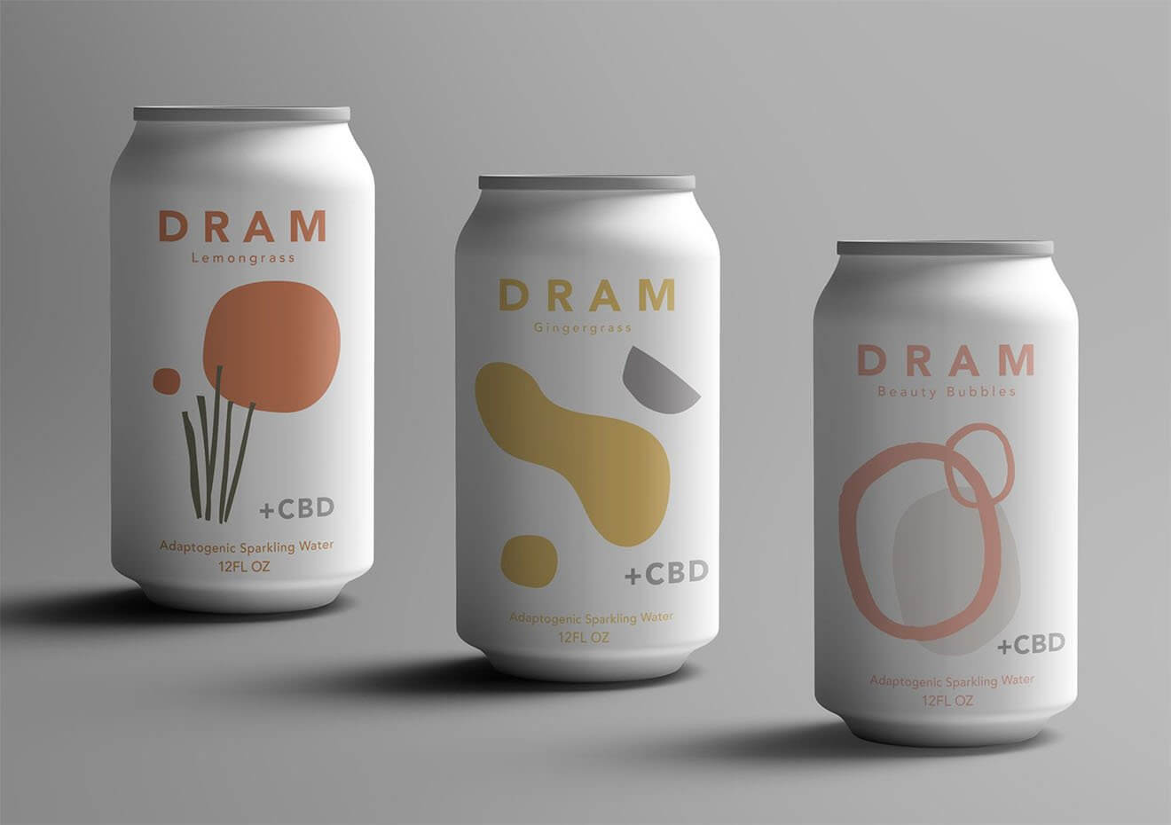 DRAM Apothecary CBD Drinks, can varieties on grey background