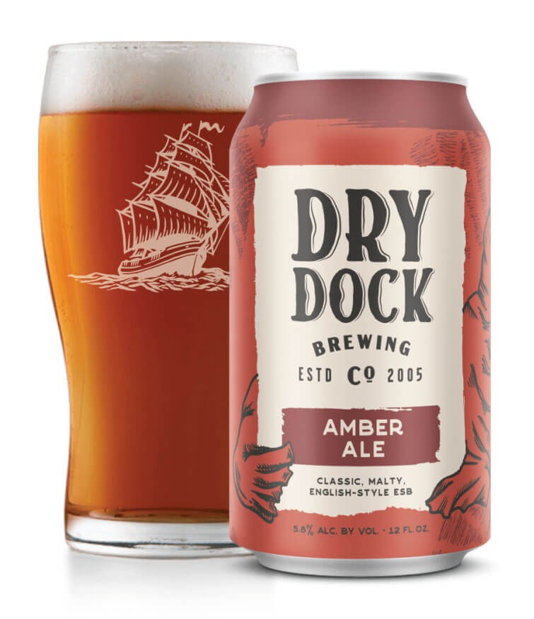 Dry Dock Amber Ale, glass and can, white background