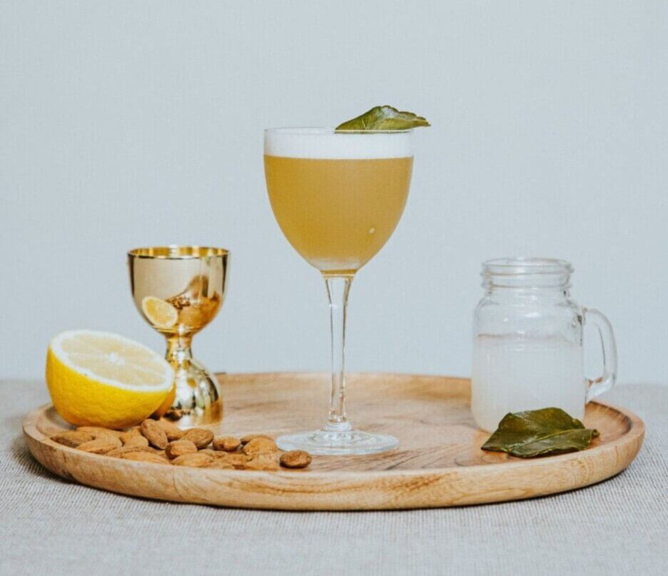 Green Mary, cocktail on tray, garnishes