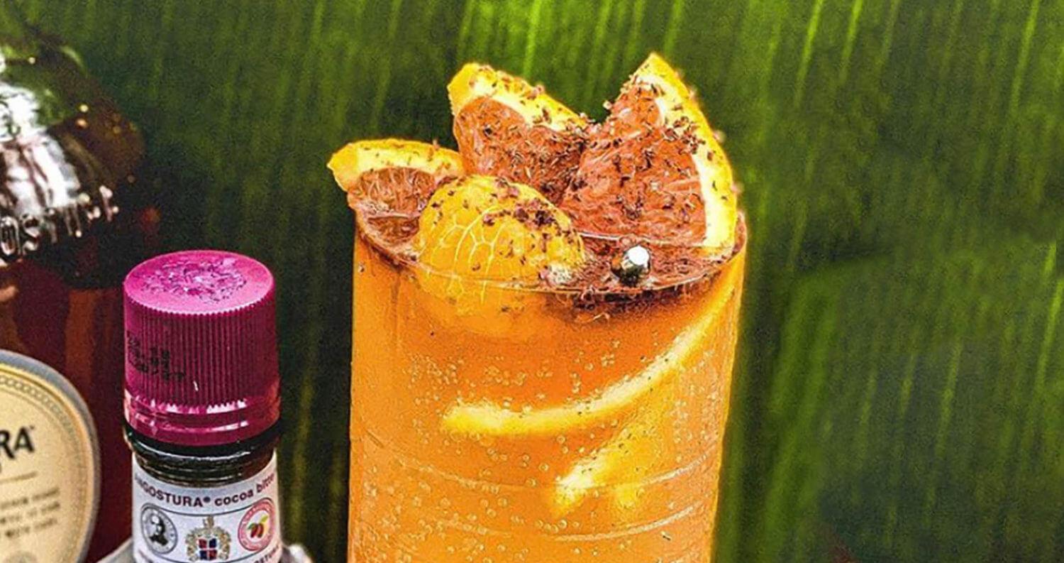 Tangostura , cocktail with bottles and garnish, featured image