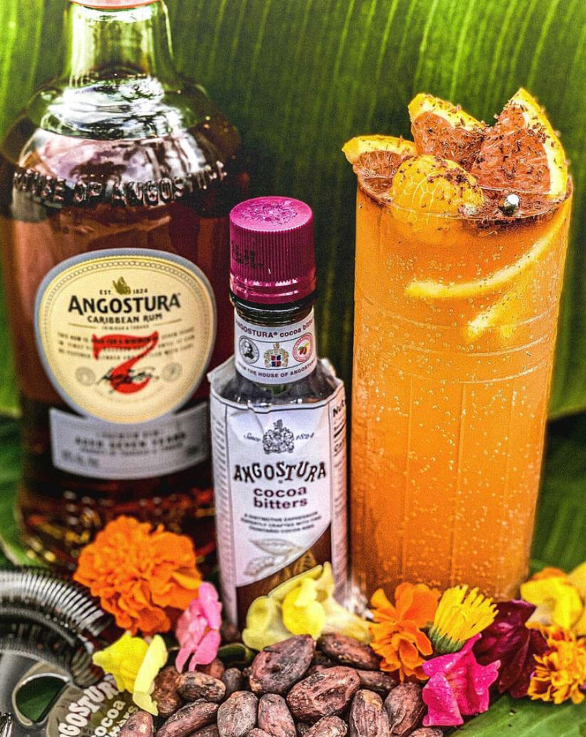 Tangostura , cocktail with bottles and garnish
