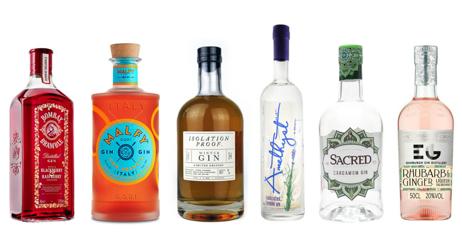 6 Flavored Gins to Try, bottles on white, featured image