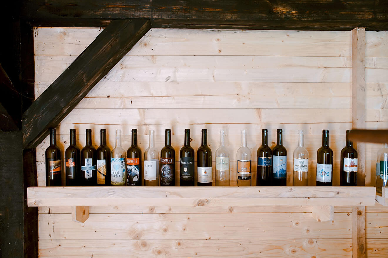 Wine Bottles in a Bar