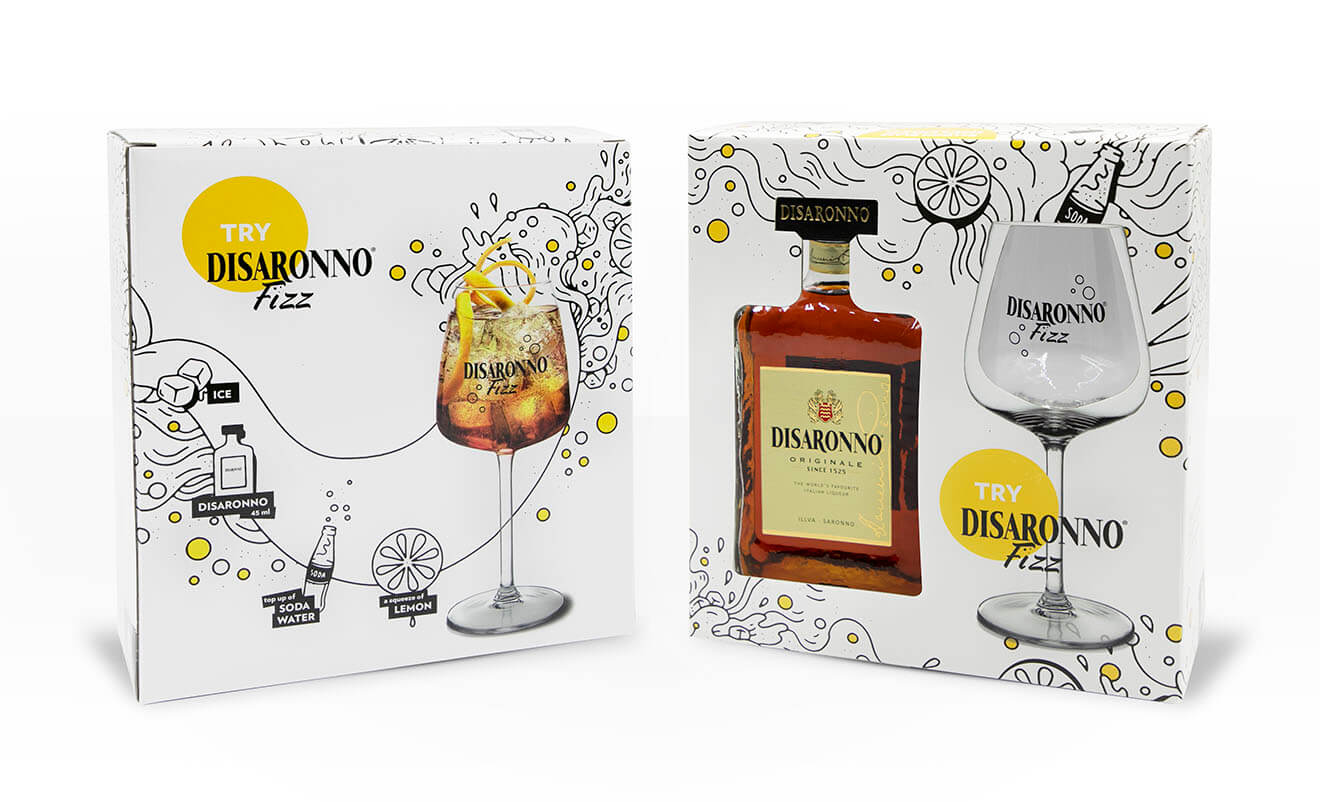 Disaronno Fizz Packaging, on white background
