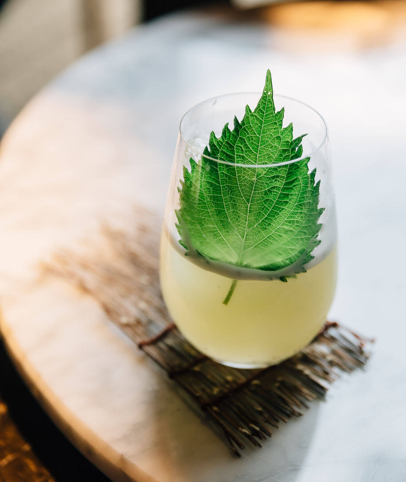 Japanese Yuzu Cocktail with Shiso Leaves