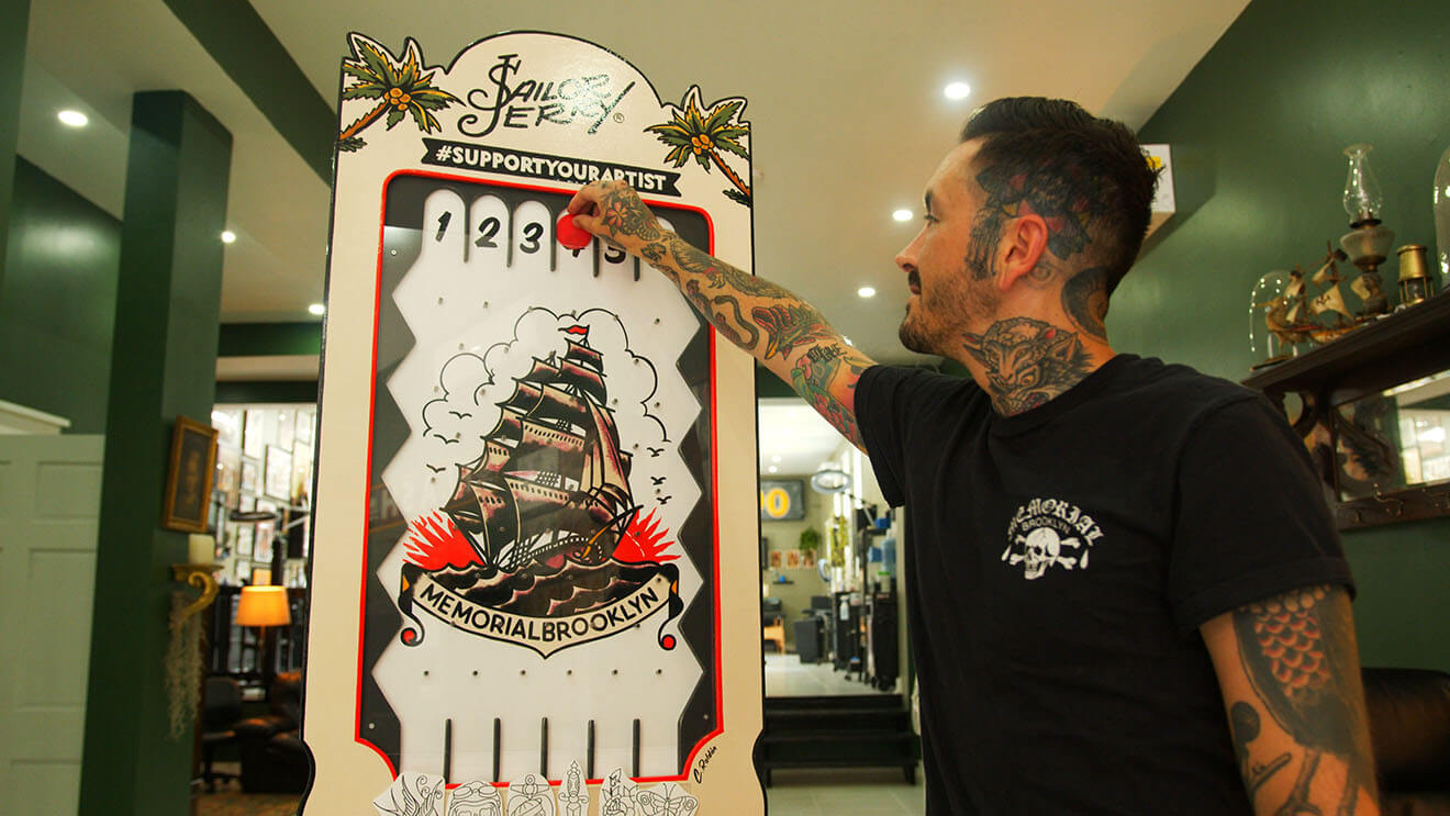 Phil DeAngulo with Sailor Jerry Plinko at Memorial Brooklyn Tattoo