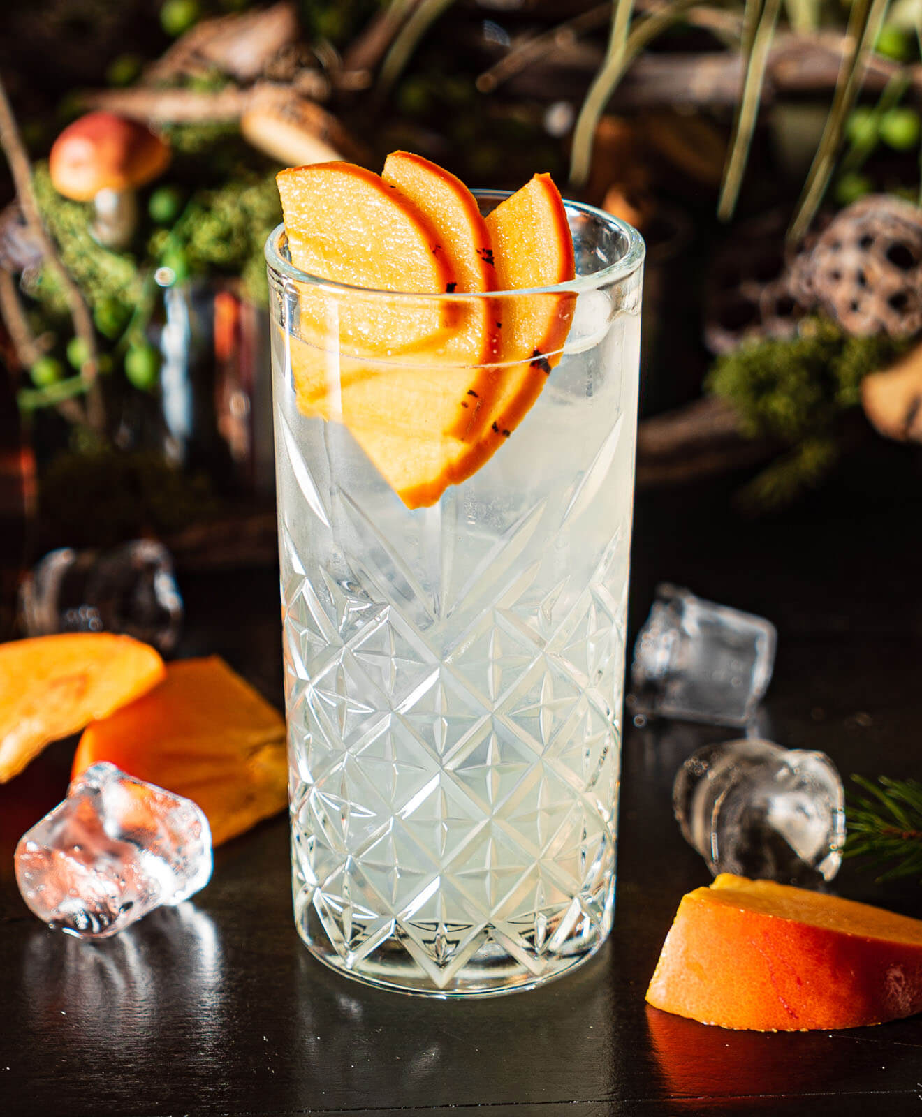 Cocktail with Persimmon garnish
